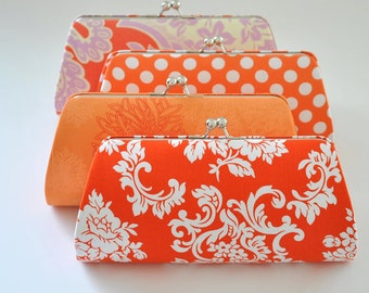 Custom clutch - Orange Clutch - Tangerine Clutch -Bridesmaid Clutch- You choose the fabric