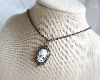 Skeleton Goddess Cameo Necklace, CHOOSE YOUR COLOR, 16 Inch, One Necklace (1)