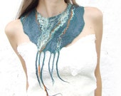 Teal statement  felt necklace, felted wool bib collar, green teal scarf weddings bridesmaid summer fashion