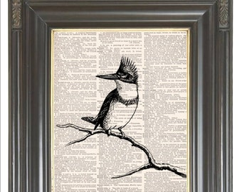 Bird print on music or dictionary page COUPON SALE Dictionary art print Wall decor Sheet music Digital print Home nursery decor No. 386