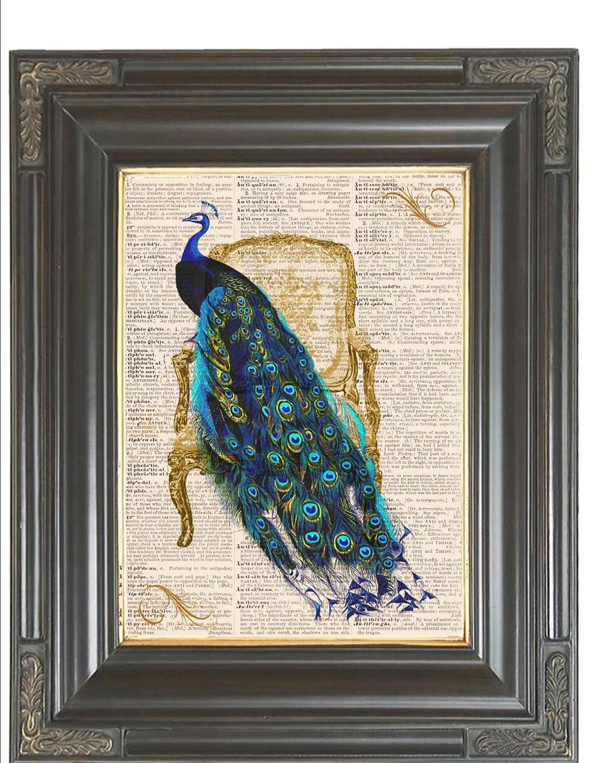 Peacock French Chair Poster Print Digital Wall Art Printed On