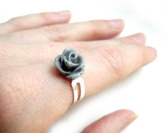 Grey Rose Silver Adjustable Ring