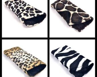 Glasses Case, Sunglass Holder, Fabric Eyeglass Case, Sunglasses Holder, Faux Fur, Cheetah, Giraffe, Leopard, Zebra, Made to Order