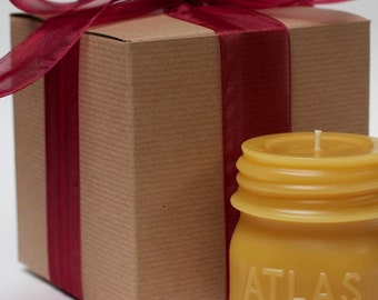 "Gift Wrapped - Beeswax Candle - ""ATLAS MASON JAR - half pint"" - by Pollen Arts - Md."