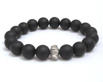 Mens Beaded Bracelet Buddhist Lotus Mala Beads, Men Bracelet, Spiritual Men Inspirational Jewelry, Worry Beads, Gifts Under 30 for Yogi Son