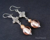 Cross Earrings -  Silver Plated Cross with Lampwork Glass and Crystals - Silver Cross with Peach Colored Glass - Glass and Crystal Jewelry