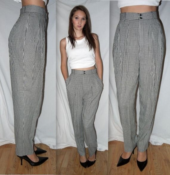 Checker Bored .. vintage 80s pants / high waist waisted / 1980s check gingham / pleated trousers / taper peg skinny .. S M /  waist 26