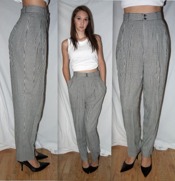 checker bored vintage 80s pants high waist waisted. Black Bedroom Furniture Sets. Home Design Ideas