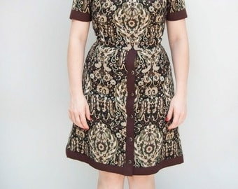 Vintage 1960s Dress - Allspice - Hardy Aimes Tapestry Wool Bespoke Mod Day Dress