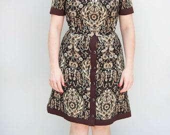 Vintage 1960s Dress - Allspice - Hardy Aimes Tapestry Wool Bespoke Mod Day Dress