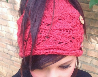 KNITTING PATTERN,Ponytail Hat,knit hat,teens,women,cable hat,headwrap,hat,red,ear warmer,knit,chunky knit,openwork,holiday gift for her