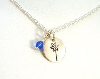 Pinwheel Disk Necklace, Child Abuse Prevention and Awareness Pinwheel Jewelry