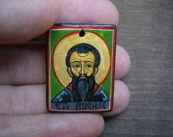 Miniature icon, Saint Basil, necklace,St Basil the Great, catholic saint, folk art painting- mixed media original- baptismal gift
