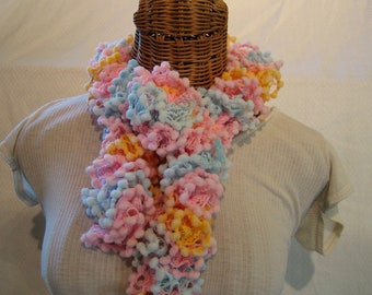 Girls Knitted scarf Yellow Pink Blue PomPom Microfiber ruffle frilly scarf toddler kids girls