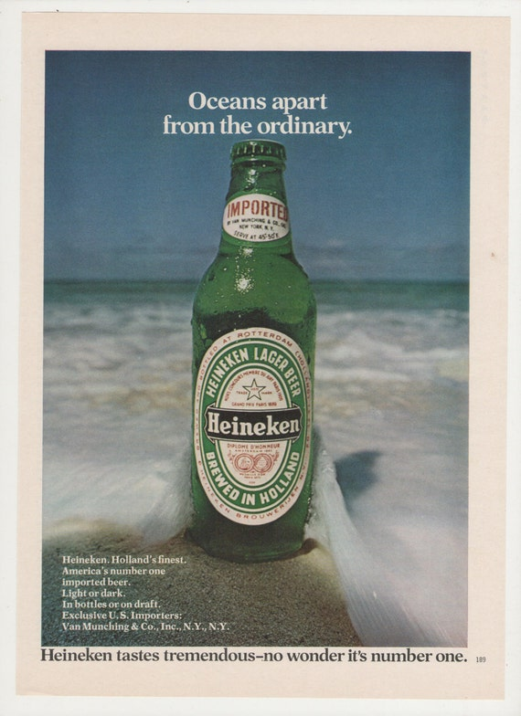 1974 Heineken Beer Ocean's Apart Advertisement