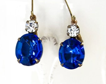Sapphire Earrings Vintage 50's Sapphire Blue Glass and Crystal Rhinestones New Settings and Earwires September Birthstone Wedding Prom