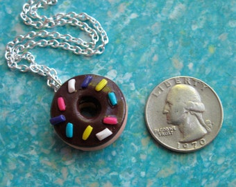 Donut Necklace - Chocolate Frosted Donut with Sprinkles Charm Necklace - Polymer Clay