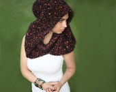 Knitting Scarf/ Hand Knit Wool Black Mohair Shawl and Hood with a Turtleneck/ gift/ autumn, winter, spring by Solandia