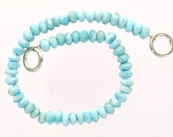 """NATURAL LARIMAR Rondelle Beads . 8"""" strand of loose beads, about 51 beads glr0001"""