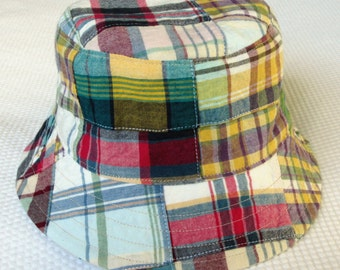 boy's bucket hat, patchwork plaid clams, reversible, 5 sizes