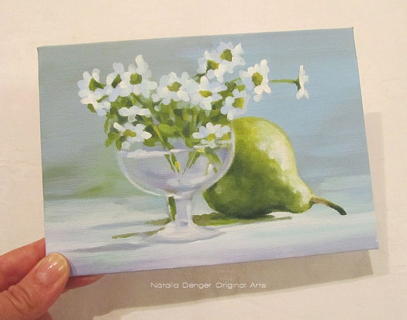 SALE! Green Pear and Daisies, Original 5x7 Painting, Daisy, Pear, Kitchen Art, White, Fresh Green, Teal, Pear and Daisies