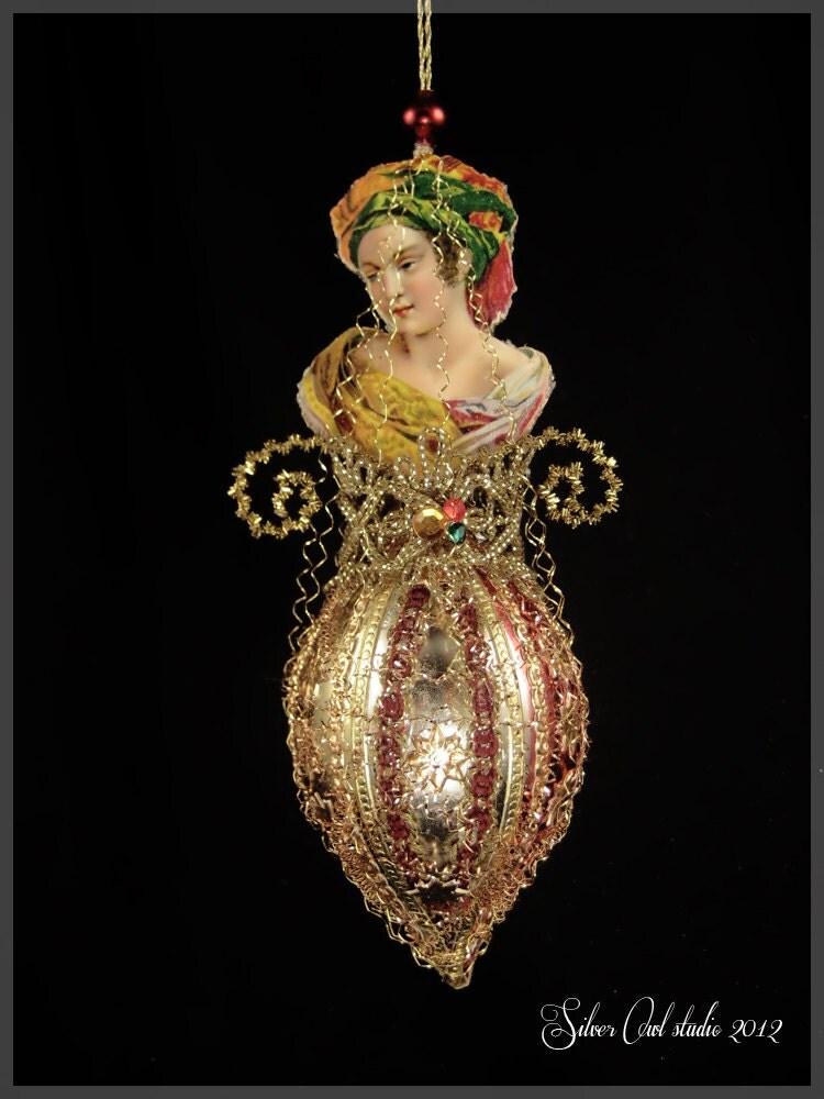 Victorian christmas ornament lady in fancy turban