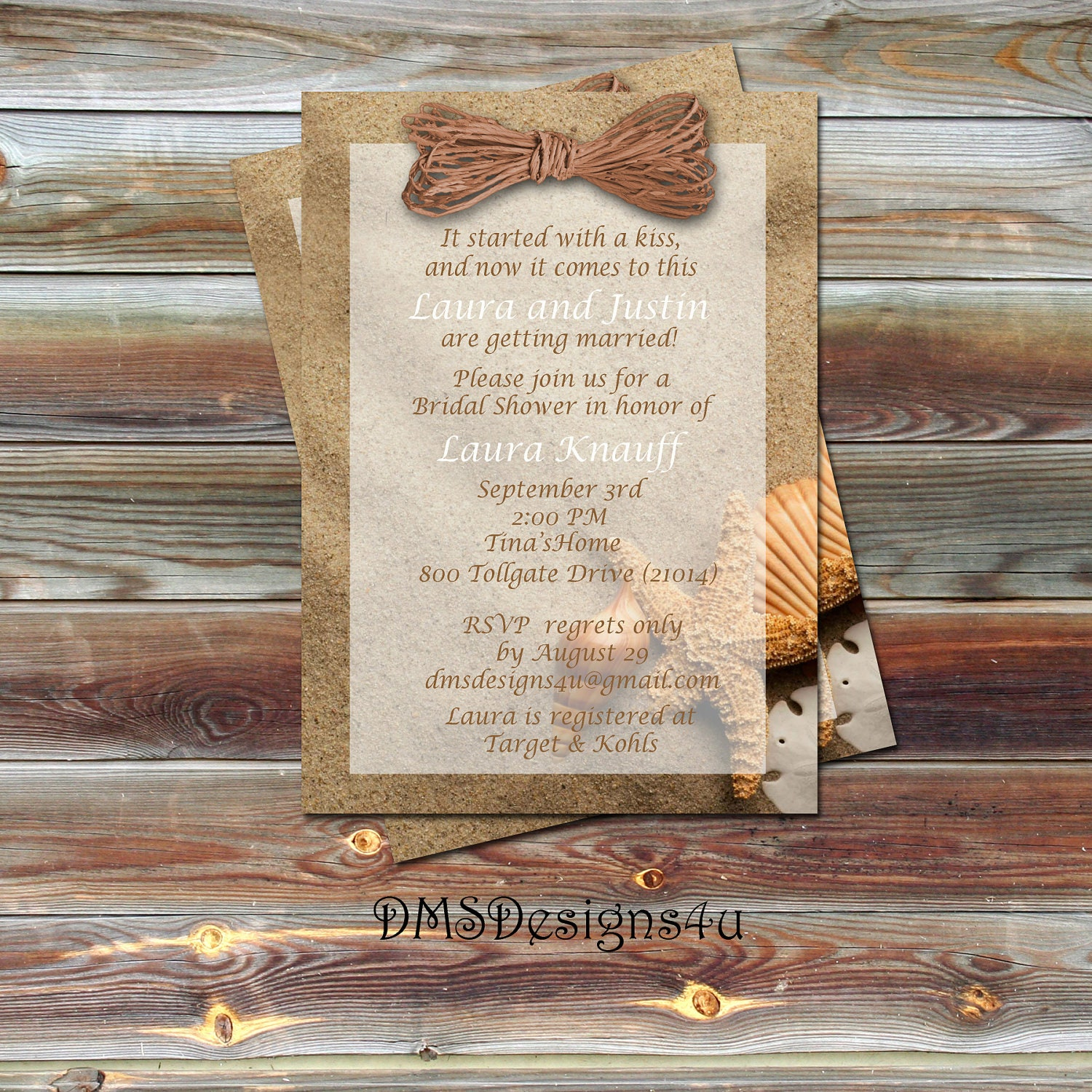 Beach Themed Bridal Shower Invitations By DesignsByDMS On Etsy