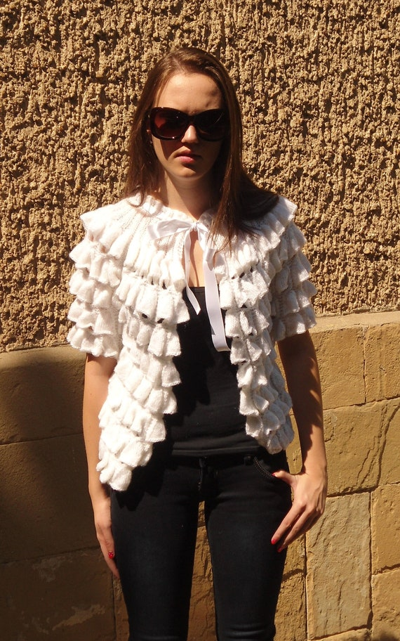 Knitted  Cardigan, White Cardigan, White Jacket, Vest Sleeves, Pure White Romantic Cardigan, Women Spring Summer, Satin Ribbon,NEW DESIGN