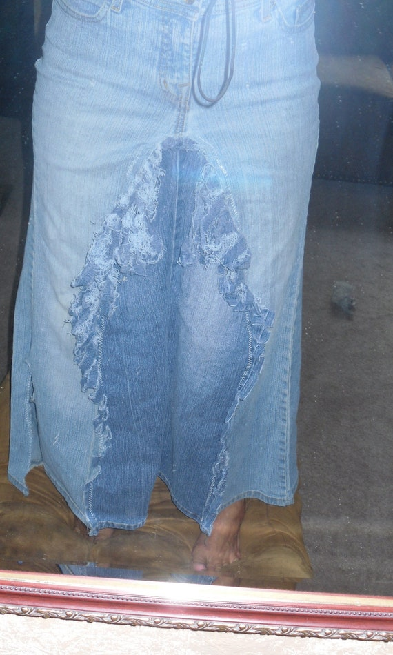 upcycled clothing boho jean skirt hippie skirt by