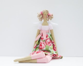 Fabric doll guardian angel cloth doll lovely softie plush doll blonde pink rose rag doll gift for girl and mom collectable doll