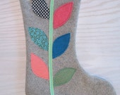 Upcycled Sage green felted Wool Modern Applique Chritmas Stocking