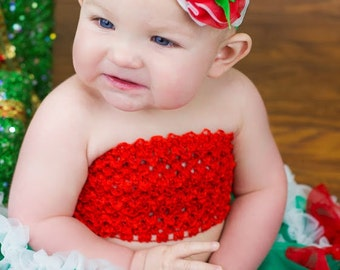 Baby Girl Headband Christmas Holiday Red White Ruffle Blossom Green Satin Bow Center on Green Satin Elastic Headband Over the Top Photo Prop