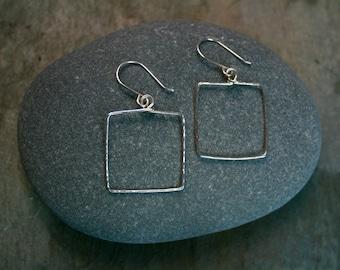 Hammered silver square hoop earrings - unique hoop earrings