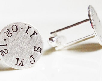 Personalized Cufflinks Monogram Custom Cuff Links Initials Special Date Wedding Gift for Him Groomsmen Groom Father of Bride Dad Gift