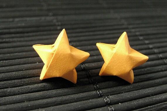 Star Earrings. Orange Star Earrings. Oragami Star Earrings. Paper Star Earrings. Silver Post Earrings. Stud Earrings. Origami Jewelry.