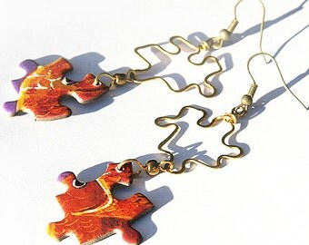 PUZZLE Earrings, Unique Hammered Forged Brass Earrings, Orange Earrings, Jigsaw Puzzle, Paper Earrings, Handmade in Canada