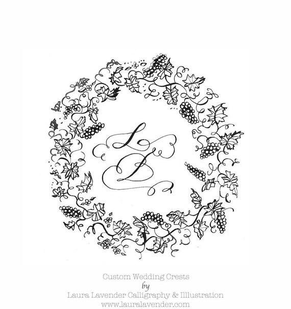 Grape vine wreath calligraphy crest custom by