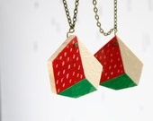 Strawberry. geometric necklace. polygon geometric pendant. red pink green. modern hand painted wooden jewelry.