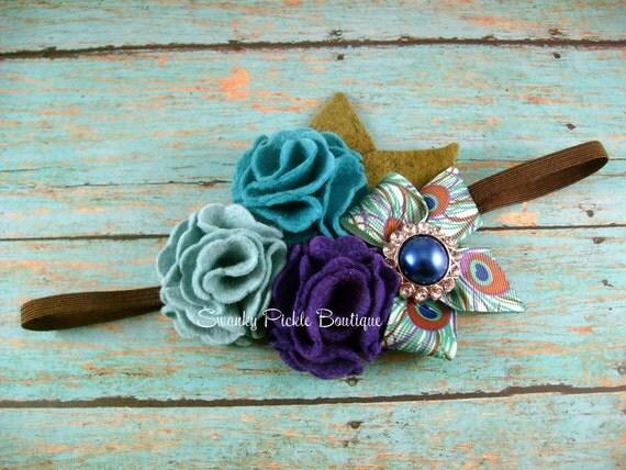 Peacock Headband - Peacock Wool Felt Flower Headband - Brooch Pin- Baby - Infant - Toddler - Girl - Teen - Adult - Photo Prop