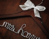 Personalized Wedding Dress Hanger - Dark Wood - from The Haute Hanger