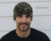 Adult male Camo Beanie (All sizes availbale-Made to order) Skullcap Camouflage