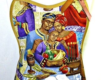 Apron KWANZAA Celebrate Every Day of the Year, Pretty Party Holiday Hostess, Fun Kitchen Gift