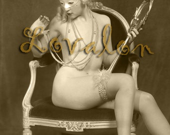 MATURE... The Mask... Instant Digital Download... 1930's Vintage Nude Photo Image by Lovalon