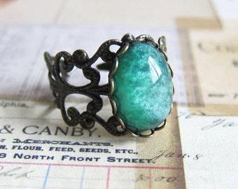 Teal Green Ring Dark Green Ring Great Gatsby Emerald Green Ring