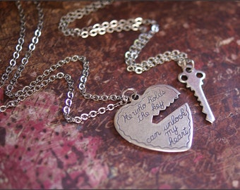 He Who Holds the Key Necklace Set-Silver Heart/Key Pendant Jewelry Gorgeous TWO NECKLACES- Perfect BoyFriend, Girlfriend Jewelry