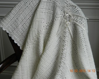 Baby blanket, off white crochet, 3 sizes, textured design/perle edging/Christening, Baptism, soft, quality Patons yarn, Free USA shipping