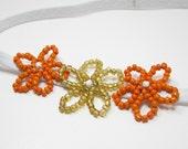 Kids Hair Accessory - Orange Girls Headband - Beaded Flower Headband - Beadwork Headband - Kids Flower Hairband
