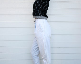 Vintage 80s High Waisted Equestrian Style Tapered Denim Pants