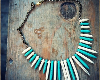 Turquoise and White Bib Spike Necklace and Chain