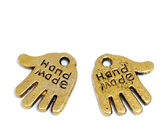 50 HAND MADE Charms - Gold - 12x11mm - Ships IMMEDIATELY from California - GC24a